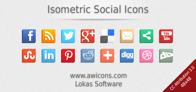 Isometric Social Icons