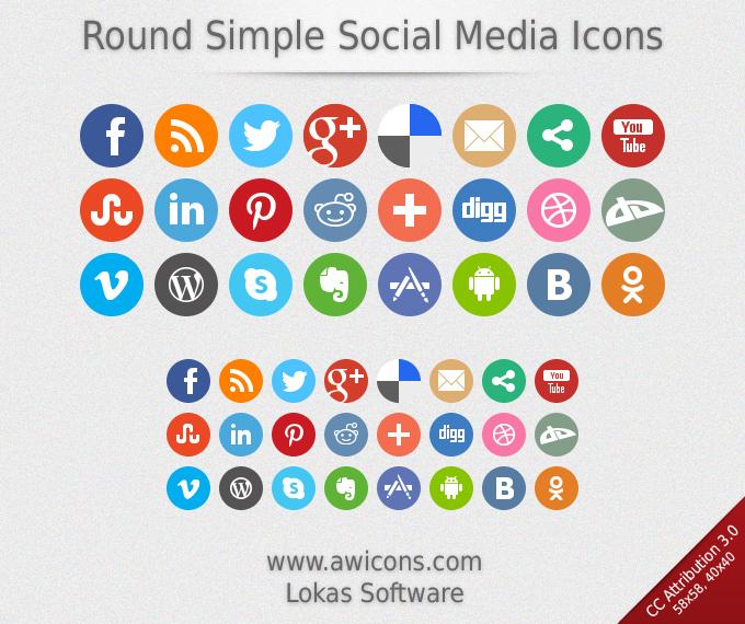 Иконки Round Simple Social Media - Бесплатные иконки ...