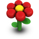 Red Daisy Icon 128px png