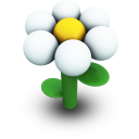 White Daisy Icon 128px png