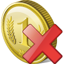 Coin Delete Icon 128px png