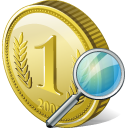 Coin Search Icon 128px png