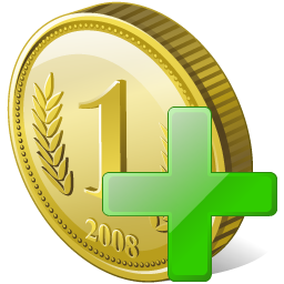 Coin Add Icon 256px png