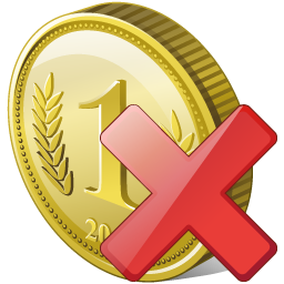 Coin Delete Icon 256px png