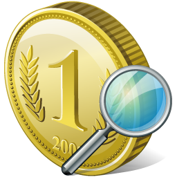Coin Search Icon 256px png
