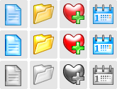 Stock icons: XP Aqua Icons