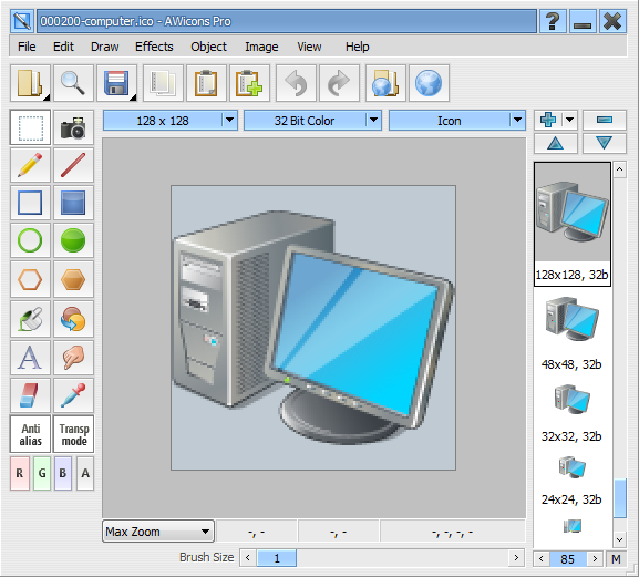 AWicons Pro: Icon editor: Main window