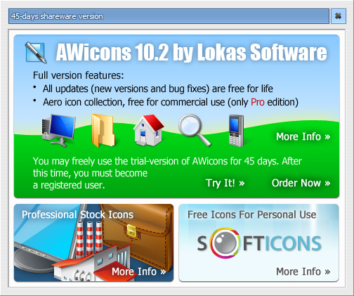 AWicons Pro: Icon editor: Splash window