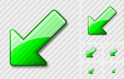 Arrow Down Left Green Icon