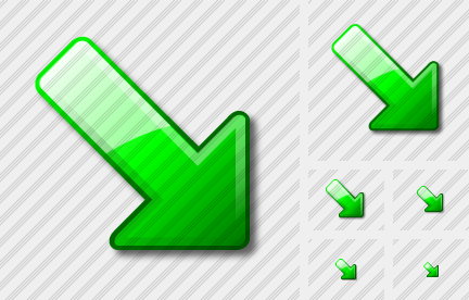 Arrow Down Right Green Icon