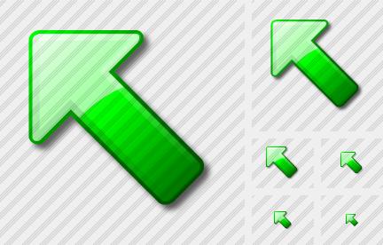Arrow Up Left Green Icon