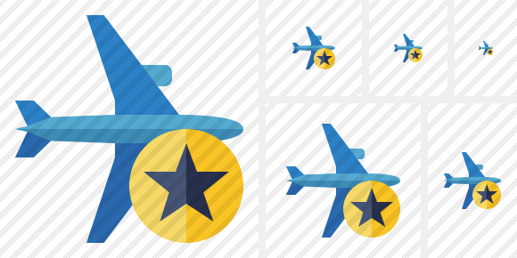 Airplane Horizontal 2 Star Icon