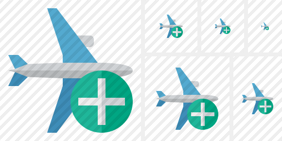 Airplane Horizontal Add Icon