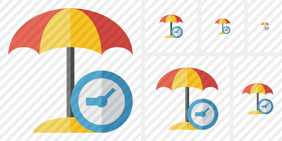 Icone Beach Umbrella Clock