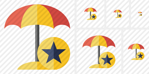 Beach Umbrella Star Icon