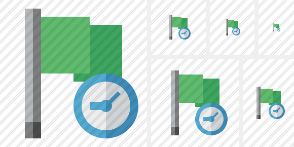 Flag Green Clock Icon