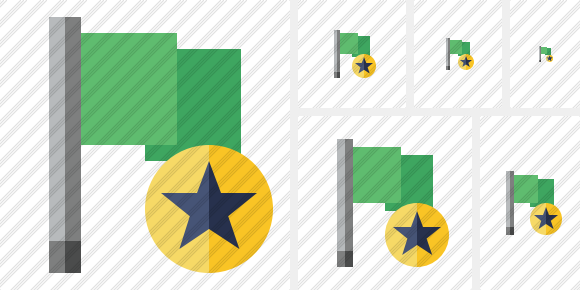 Flag Green Star Icon