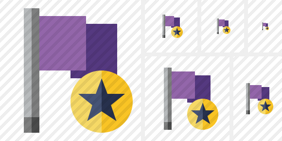 Flag Purple Star Icon