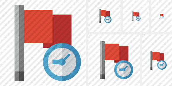 Flag Red Clock Icon