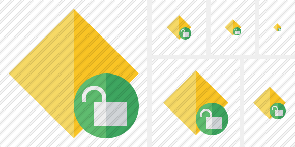 Rhombus Yellow Unlock Icon