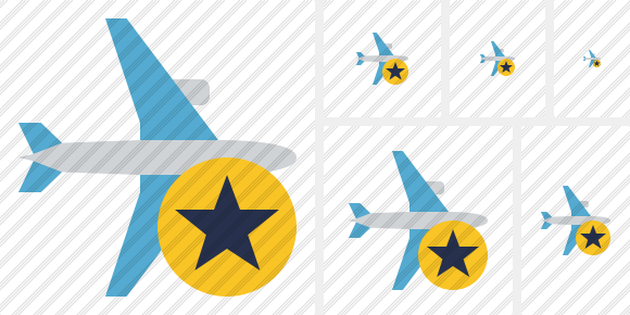 Airplane Horizontal Star Icon