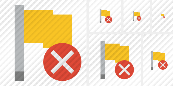Flag Yellow Cancel Icon