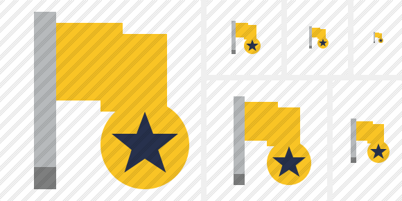 Flag Yellow Star Icon
