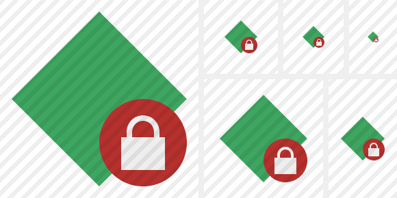 Rhombus Green Lock Icon