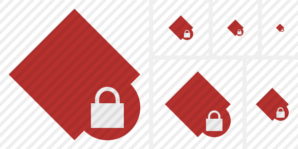 Rhombus Red Lock Icon