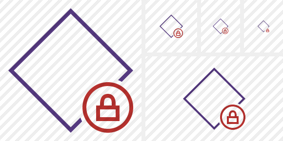 Rhombus Purple Lock Icon