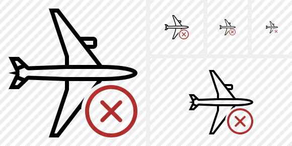 Airplane Horizontal Cancel Icon