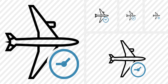 Airplane Horizontal Clock Icon