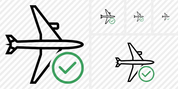 Airplane Horizontal Ok Icon