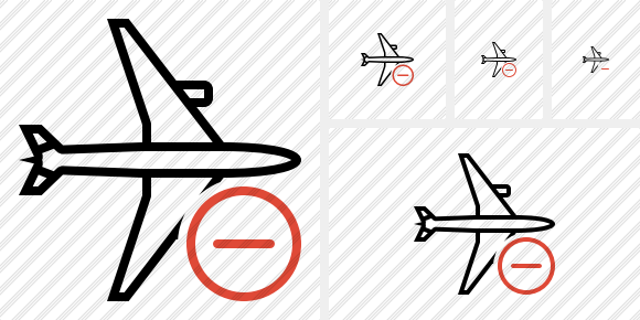 Airplane Horizontal Remove Icon