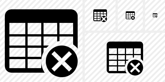Database Table Cancel Icon