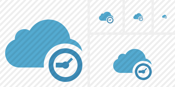 Cloud Blue Clock Icon