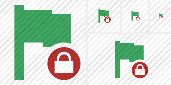 Flag Green Lock Icon