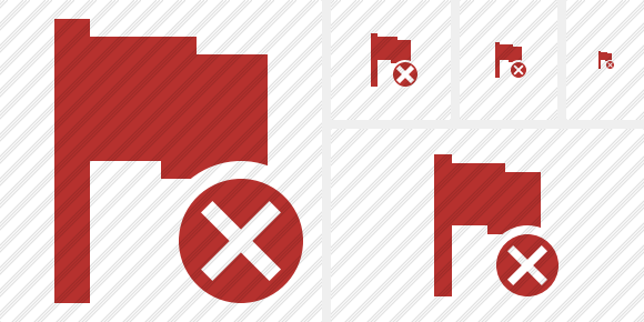Flag Red Cancel Icon