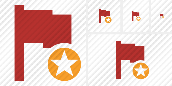 Flag Red Star Icon