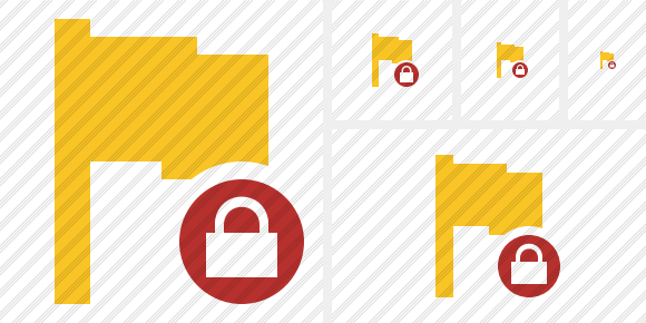 Flag Yellow Lock Icon