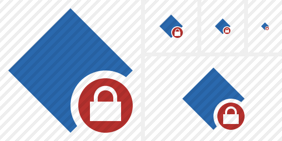 Rhombus Blue Lock Icon
