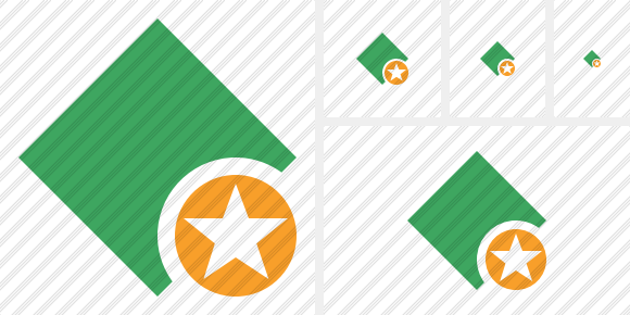 Rhombus Green Star Icon