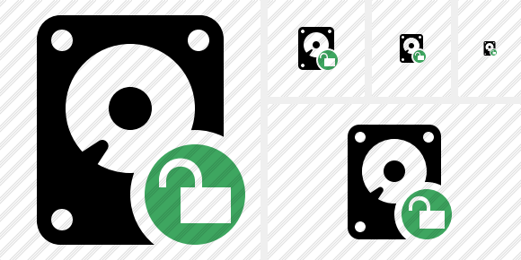 Hard Drive Unlock Icon
