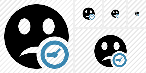Smile Unhappy Clock Icon