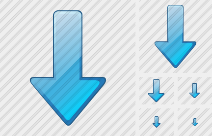 Arrow Down Blue Icon
