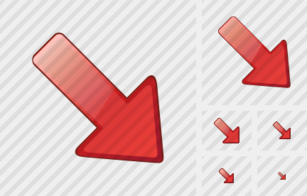 Arrow Right Down Red Icon