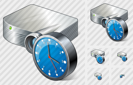 Projector White Clock Icon