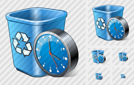 Recycle Bin Clock Icon