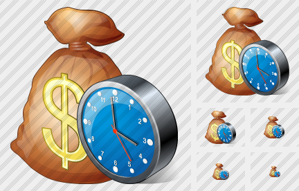 Money Bag Clock Icon