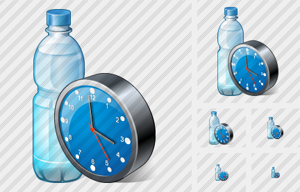 Water Bottle Clock Icon